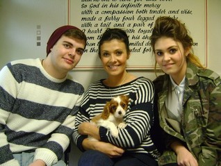 Kym Lomas formerly Marsh from hear'say with her children David and Emily