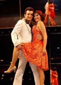Kym Lomas formerly Marsh from hear'say in the musical Saturday Night Fever