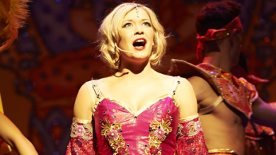 Suzanne Shaw from hear'say on stage in Aladdin.